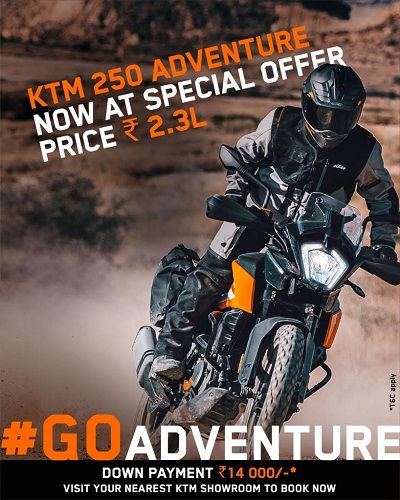 250 Adventure पर KTM की धमाकेदार रु. 2.30 लाख विशेष क़ीमत
