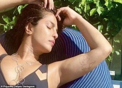 Priyanka Chopra has unveiled a new tattoo In Black Swimsuit